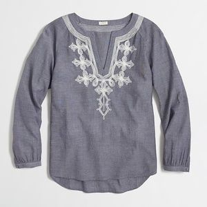 J.Crew Embroidered Chambray Top
